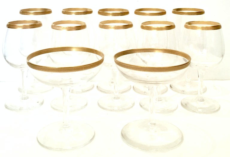 20th Century Italian Crystal and 22-Karat Gold Rim Stem Glasses, S/12 In Excellent Condition For Sale In West Palm Beach, FL