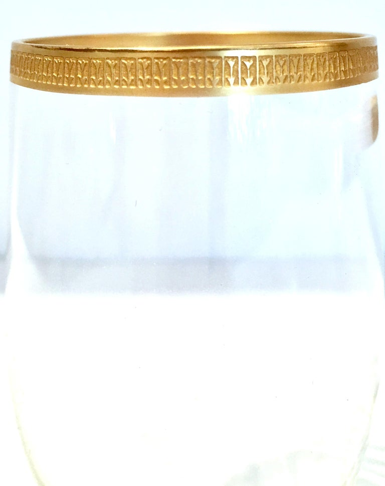20th Century Italian Crystal and 22-Karat Gold Rim Stem Glasses, S/12 For Sale 3