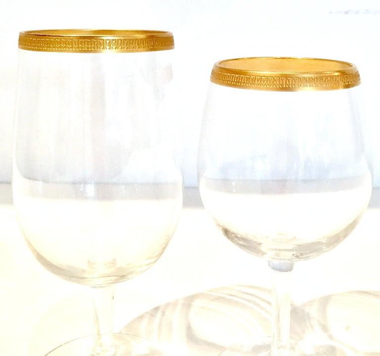 20th Century Italian Crystal and 22-Karat Gold Rim Stem Glasses, S/12 For Sale 2