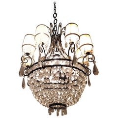 20th Century Italian Empire Style Crystal and Iron Chandelier