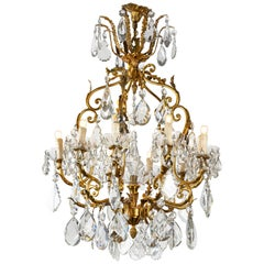20th Century Italian Crystal Chandelier Ten-Light Gilt Bronze Cage Frame