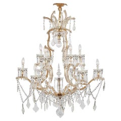 20th Century Italian Crystal Two-Tier Chandelier Maria Theresa Style 13 Lights