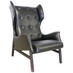 20th Century Italian Design Black Leatherette Armchair, 1940s