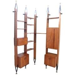 20th Century Italian Design Ceiling, Floor Modular Corner Bookcase in Teak 1960s