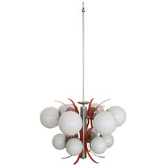 20th Century Italian Design Chandelier in Glass and Chrome Metal Chandelier