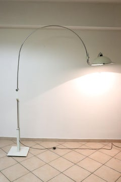 20th Century Italian Design Chrome and Enamelled Metal Floor Lamp, 1970s