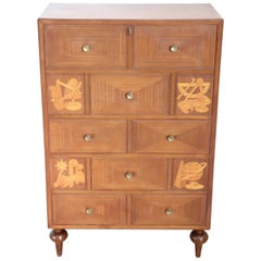 20th Century Italian Design Inlaid Mahogany Chest of Drawers with Secretaire
