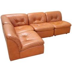 20th Century Italian Design Leather Modular Corner Sofa, 1980s