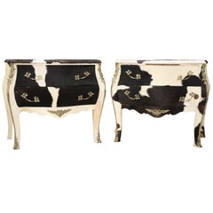 20th Century Italian Design Louis XV Style Pair of Chest, Commode in Pony Hair