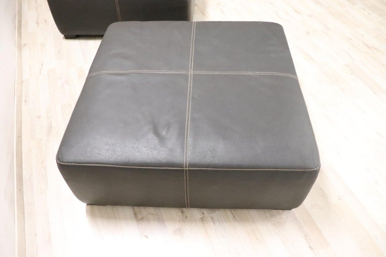 Contemporary 20th Century Italian Design Pair of Large Pouf in Black Leather For Sale