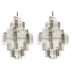 20th Century Italian Eight Tiered Murano Glass Chandeliers by Venini & Zucceri