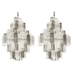 20th Century Italian Eight Tiered Murano Glass Chandeliers by Venini & Zucceri
