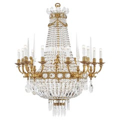 20th Century Italian Empire Style Crystal Chandelier with Obelisk and Putti