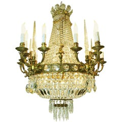 20th Century Italian Empire Style Crystal Chandelier with Gilt Cast Bronze Putti