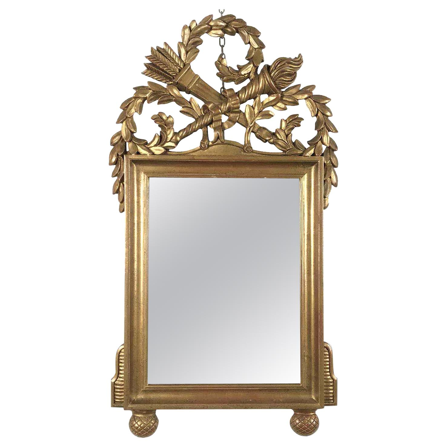 20th Century Italian Empire Style Gold Leaf Gilt Mirror by Chelini Firenze