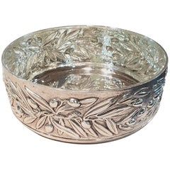 20th Century Italian Engraved Olives Sterling Silver Centerpiece, Italy, 1970s