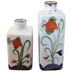 20th Century Italian Faenza Hand Painted Ceramic Vases or Bottles, Set of 2