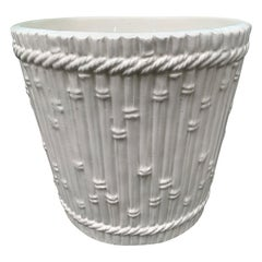 20th Century Italian Faux Bamboo Porcelain Creamware Cachepot, Unmarked