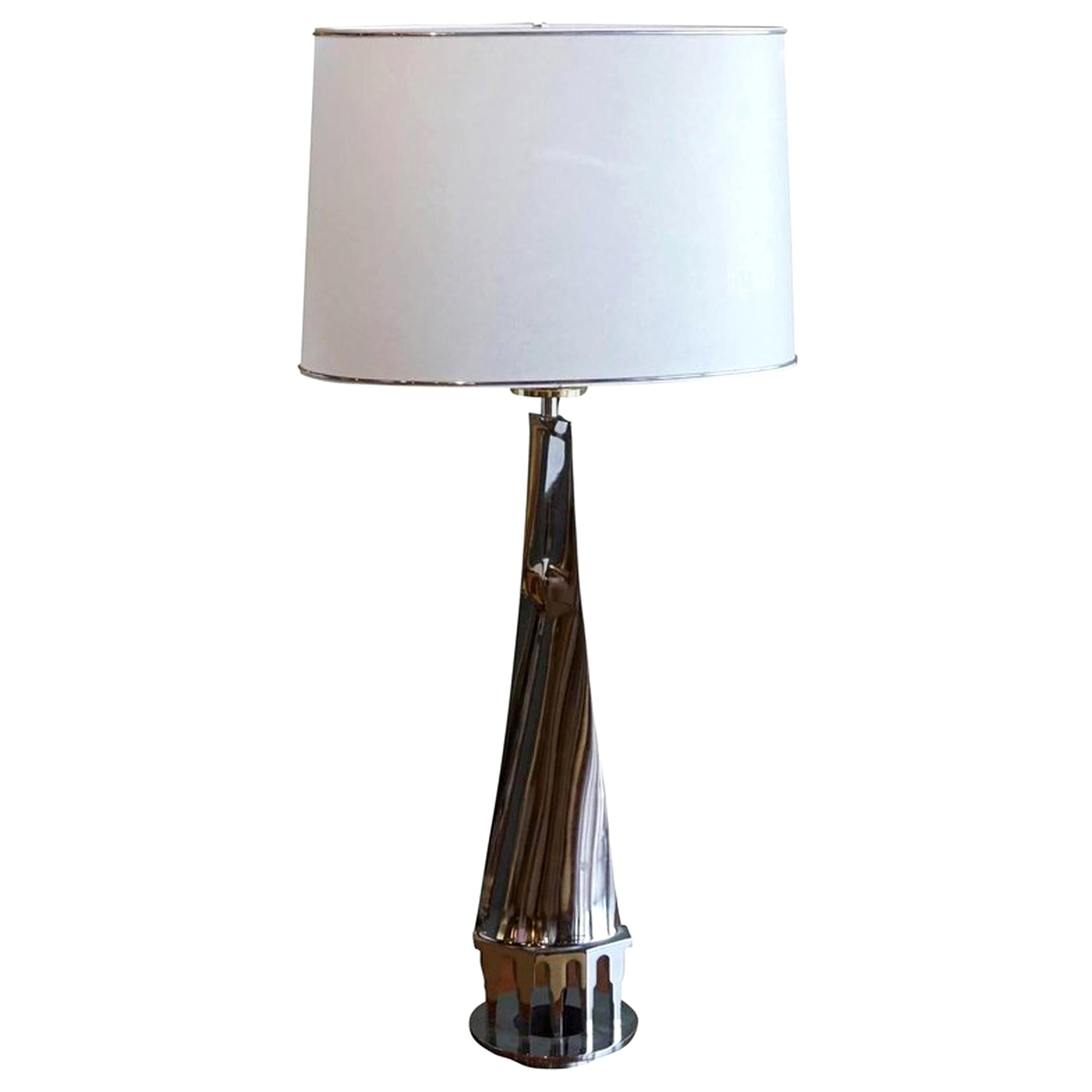 20th Century Silver Italian Florentine Chrome Table Lamp by Banci Firenze