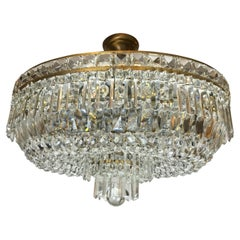 20th Century Italian Crystal Flush Mounted Ceiling Fixture Oval Eight-light