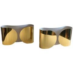 20th Century Italian Foglio Brass Sconces for Flos