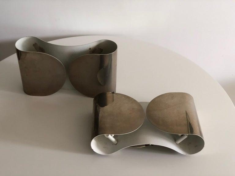 20th century italian foglio chrome sconces for flos at 1stdibs