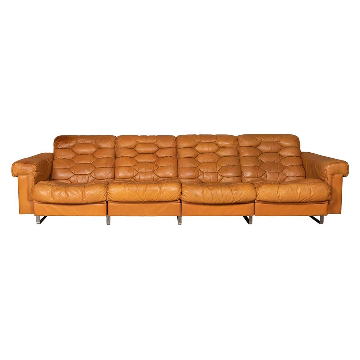 20th Century Italian Four Seater Leather Sofa Reclining Seats, c.1970