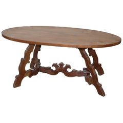 20th Century Italian Fratino Walnut Wood Oval Table with Lyre-Shaped Legs