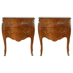 20th Century Italian Fruitwood Two Drawers Nightstands or Bedside Commodes, Pair