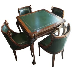 20th Century Italian Game Table with Four Chairs in Walnut and Green Leather