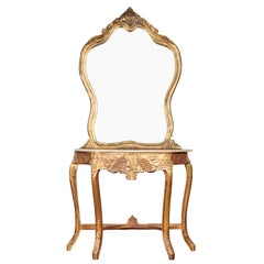 20th Century, Italian Gilt and Marble Mirrored Console