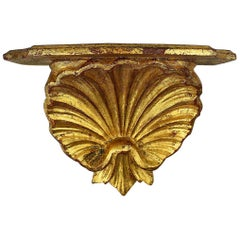 20th Century Italian Gilt Gold Carved Wood Grotto Style Shell Shelf