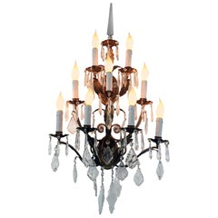20th Century Italian Crystal Sconce Two-tiered Nine-Light Gilt Iton Frame