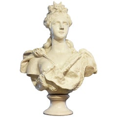 20th Century Italian Glazed Terracotta Bust of a Young Noble Woman