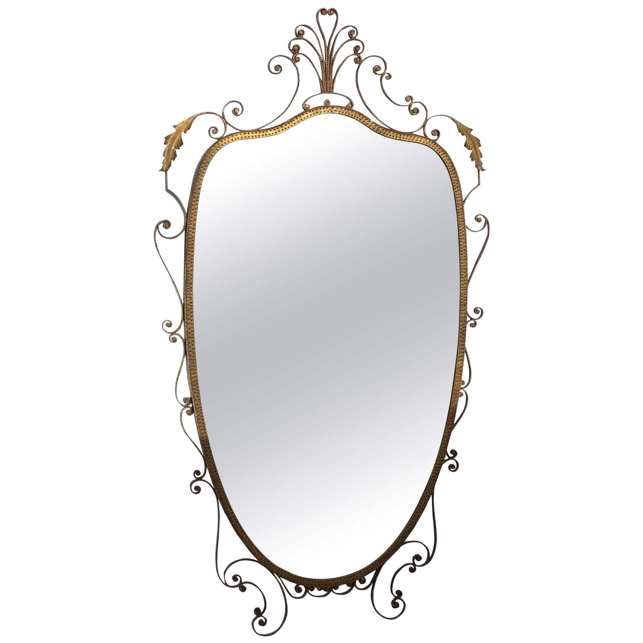 20th Century Italian Gold Metal Oval Wall Mirror