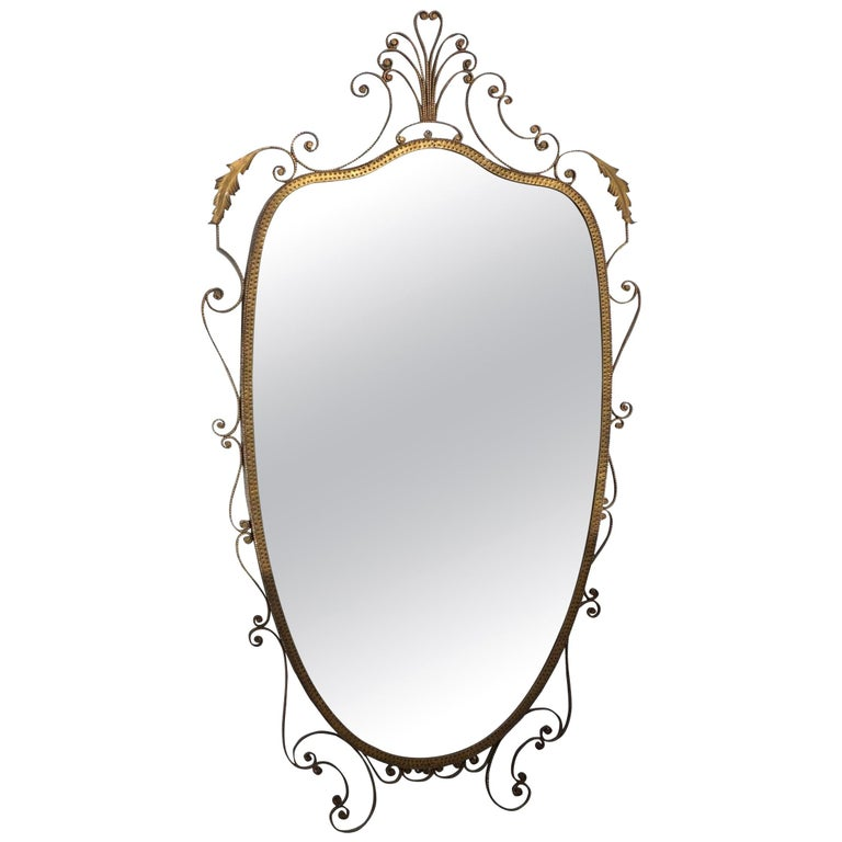 20th Century Italian Gold Metal Oval Wall Mirror For Sale