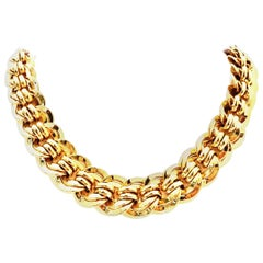 20th Century Italian Gold Plate Chain Link Choker  Style Necklace By, Napier