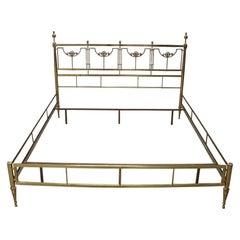 20th Century Italian Golden Brass Double Bed