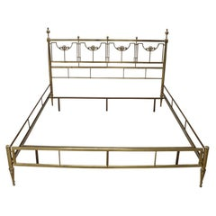 20th Century Italian Golden Brass Double Bed