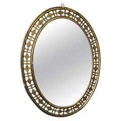 20th Century Italian Golden Wood Oval Mirror, 1940s
