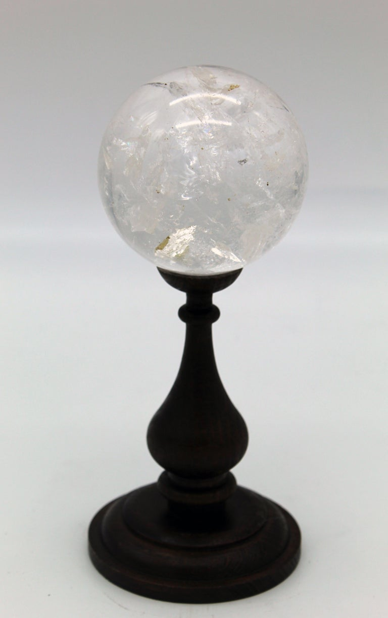 20th Century Italian Grand Tour Sculpture Rock Crystal Sphere on Wood Standing For Sale 3