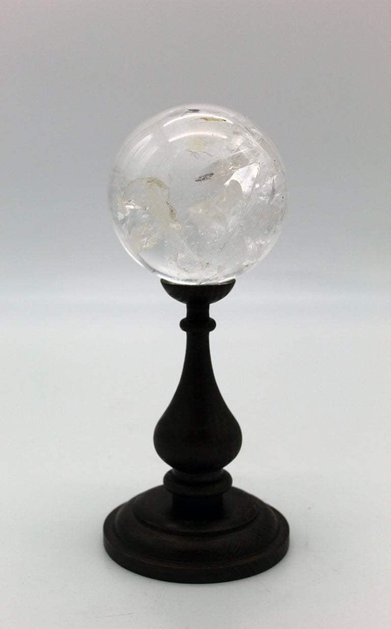 20th Century Italian Grand Tour Sculpture Rock Crystal Sphere on Wood Standing For Sale 4