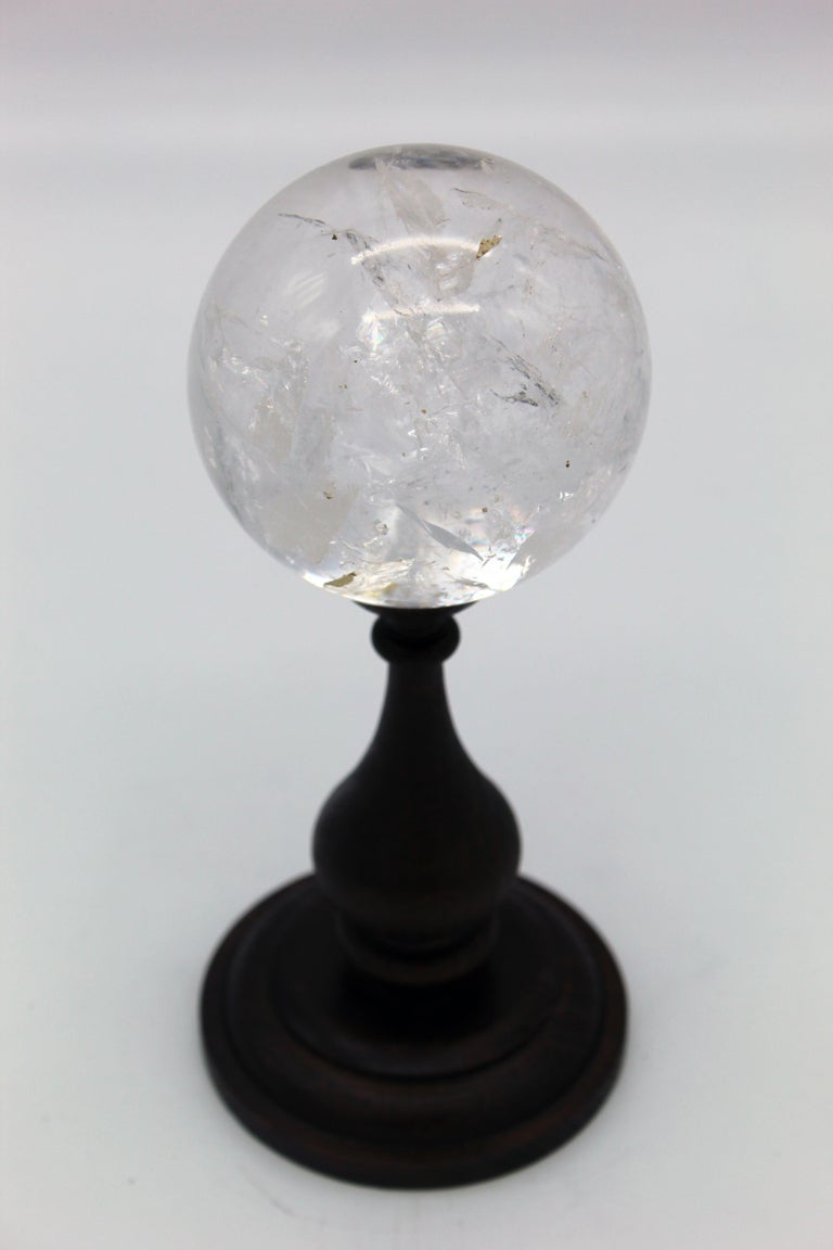 20th Century Italian Grand Tour Sculpture Rock Crystal Sphere on Wood Standing For Sale 5