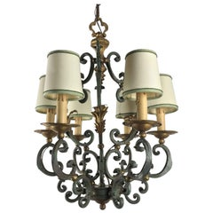 20th Century Italian Gray Painted Gilt-Leaf Wrought Iron Chandelier