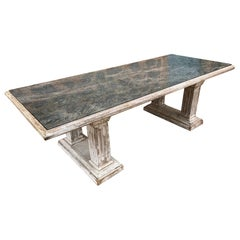 20th Century Italian Green Marble and Limed White Wood Table, 1950s