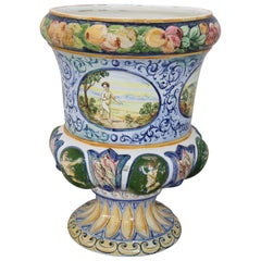 20th Century Italian Hand Painted Ceramic Vase by Giuseppe Piccone