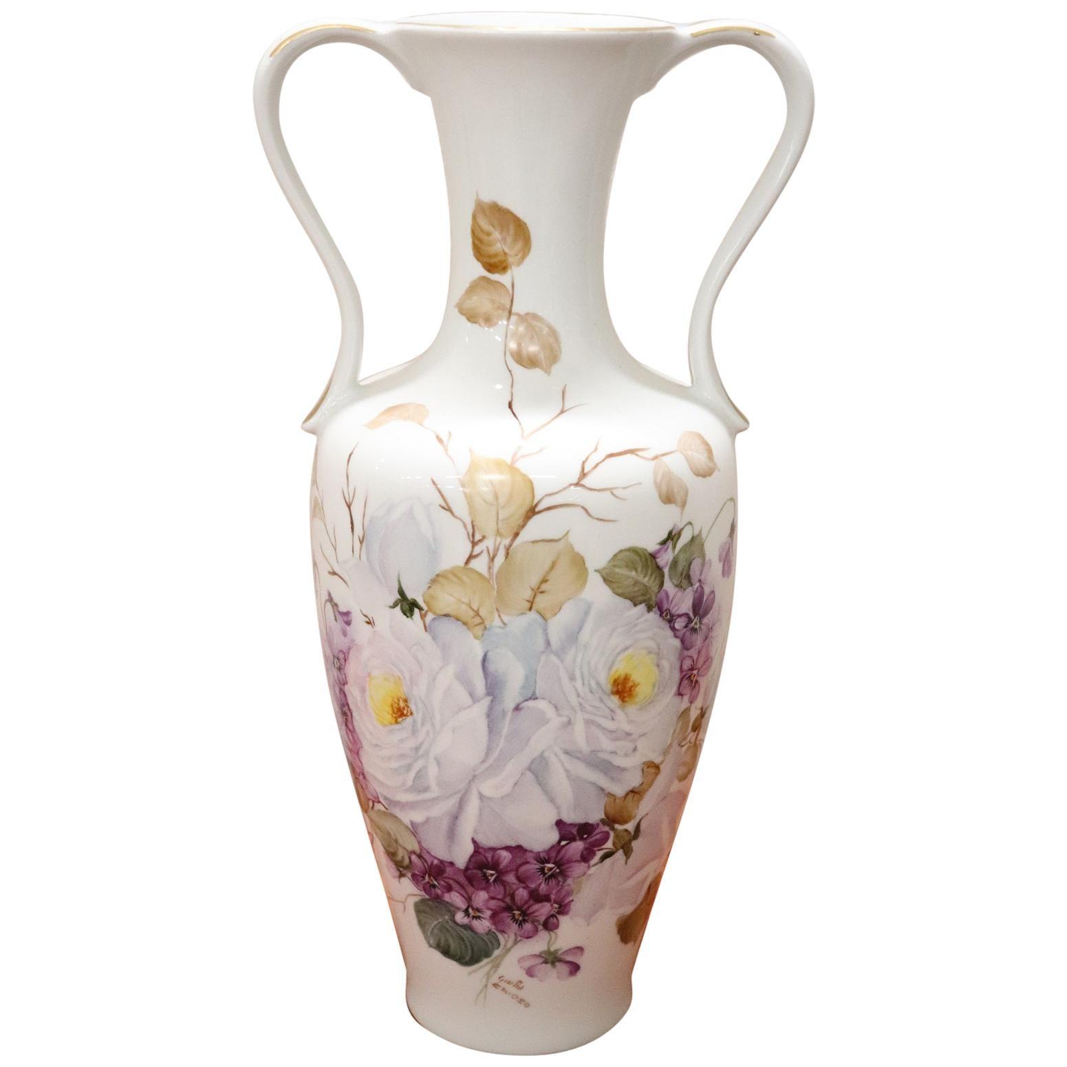 20th Century Italian Hand Painted Ceramic Vase