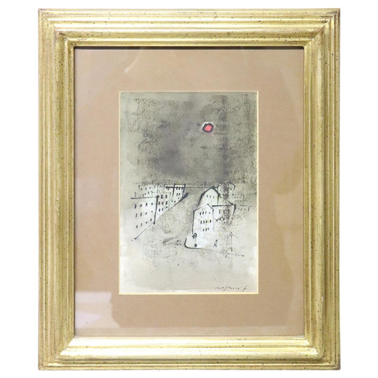 20th Century Italian Important Artist Tempera on Paper by Franco Rognoni