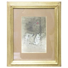 20th Century Italian Important Artist Tempera on Paper by Franco Rognoni