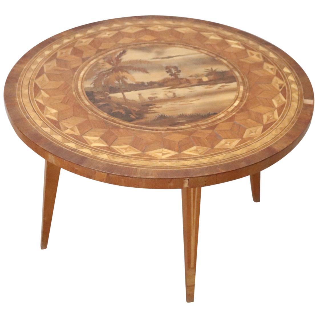 20th Century Italian Inlaid Walnut Round Coffee Table or Sofa Table